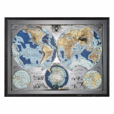 Mirrored World Map Framed Graphic Art