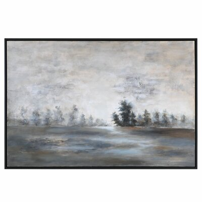 Evening Mist Landscape Framed Painting