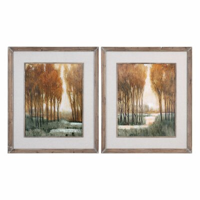 Custom Forest Landscape 2 Piece Framed Painting Print Set