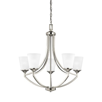 Elkton 5-Light Shaded Chandelier Finish: Brushed Nickel