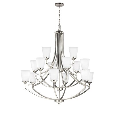 Elkton 15-Light Shaded Chandelier Finish: Brushed Nickel