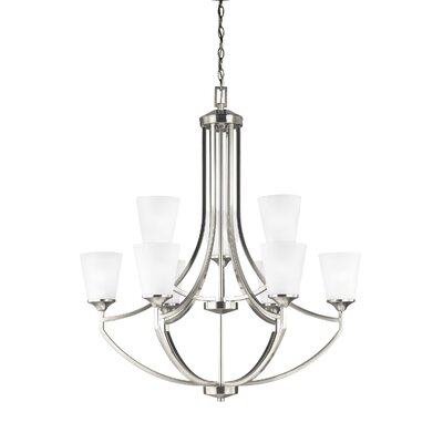 Elkton 9-Light Shaded Chandelier Finish: Brushed Nickel