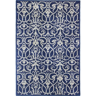 Modena Hand Tufted Navy Area Rug Rug Size: 86 x 116