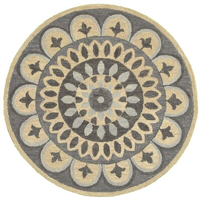 Elmbridge Hand-Tufted Gray Area Rug Rug Size: Round 4
