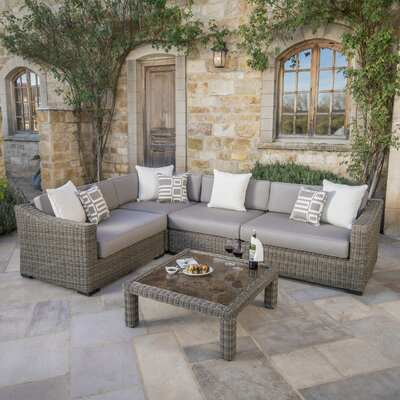 Monroeville Deluxe 5 Piece Sectional Seating Group with Cushion