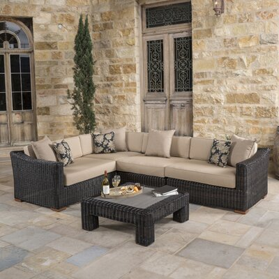 Monroeville 5 Piece Sectional Seating Group with Cushion Fabric: Heather Beige, Finish: Espresso