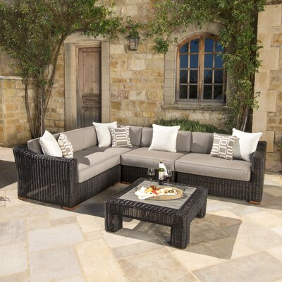 Monroeville 5 Piece Sectional Seating Group with Cushion Fabric: Frank Stone, Finish: Espresso