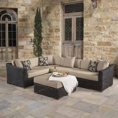 Monroeville 5 Piece Sectional Seating Group with Cushion Fabric: Heather Beige