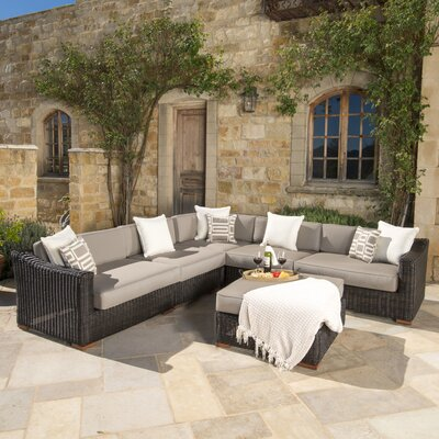 Monroeville 6 Piece Sectional Seating Group with Cushion Fabric: Frank Stone
