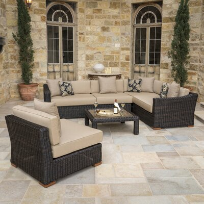Monroeville 6 Piece Sectional Seating Group with Cushion Fabric: Heather Beige