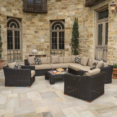 Monroeville Deluxe 8 Piece Sectional Seating Group with Cushion Fabric: Heather Beige