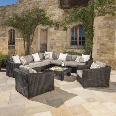 Monroeville Deluxe 8 Piece Sectional Seating Group with Cushion Fabric: Frank Stone