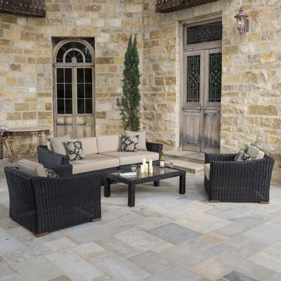 Monroeville 5 Piece Deep Seating Group with Cushion Fabric: Heather Beige