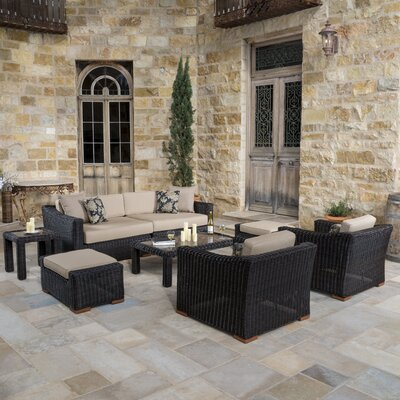 Monroeville Deluxe 7 Piece Deep Seating Group with Cushion Fabric: Heather Beige