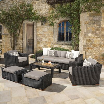 Monroeville Deluxe 7 Piece Deep Seating Group with Cushion Fabric: Frank Stone