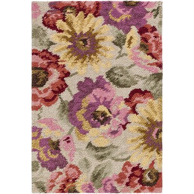 Cynthiana Hand-Knotted Tan Area Rug Rug size: 4 x 6