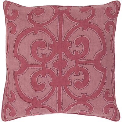 Damascus 100% Linen Throw Pillow Cover Size: 18 H x 18 W x 0.25 D, Color: Pink