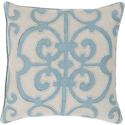 Damascus 100% Linen Throw Pillow Cover Size: 22 H x 22 W x 1 D, Color: BlueGray