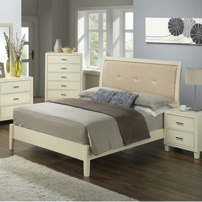 Hoytville Upholstered Panel Bed Size: King, Color: White