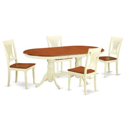 Germantown 5 Piece Dining Set Finish: Buttermilk / Cherry, Upholstery: Microfiber