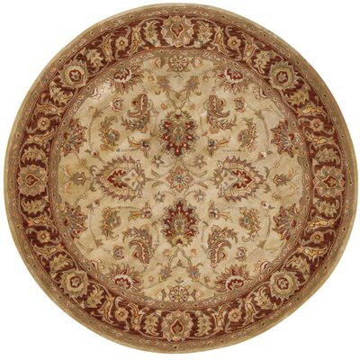 Delaware Hand-Tufted Beige Area Rug Rug Size: Round 8
