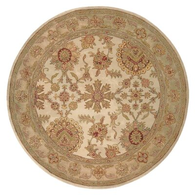 Delaware Hand-Tufted Wool Ivory Area Rug Rug Size: Round 6