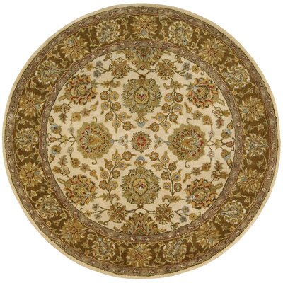 Delaware Ivory/Brown Rug Rug Size: Round 8