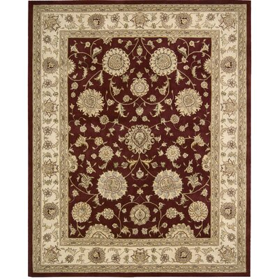 Ottoville Hand-Tufted Burgandy/Beige Area Rug Rug Size: 79 x 99