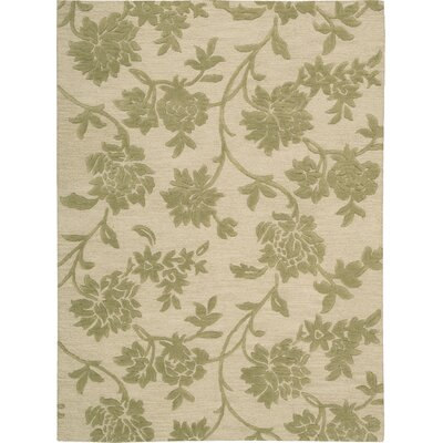 Peterson Hand-Tufted Ivory/Green Area Rug Rug Size: Rectangle 56 x 75