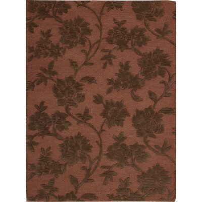 Peterson Hand-Tufted Rust/Brown Area Rug Rug Size: Round 6