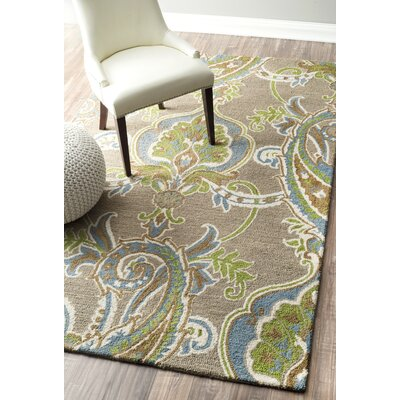 Almira Hand-Looped Cream/Green Area Rug Rug Size: 5 x 8