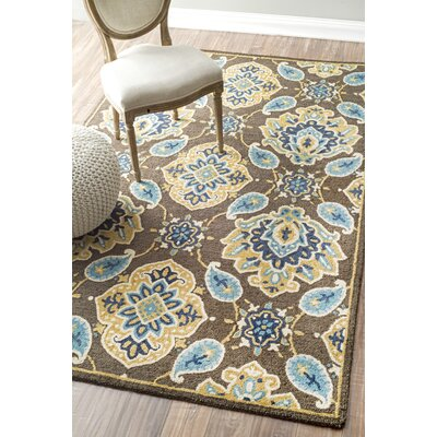 Alvah Hand-Looped Brown/Blue Area Rug Rug Size: 76 x 96