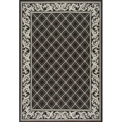 Avella Trellis Black Indoor/Outdoor Area Rug Rug Size: Rectangle 710 x 112