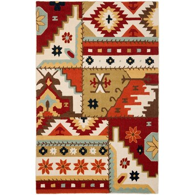 Tabares Hand-Hooked Ivory Area Rug Rug Size: 53 x 83