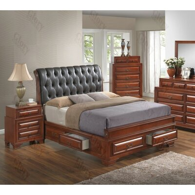 Edwardsville Upholstered Storage Platform Bed Size: King, Color: Cherry