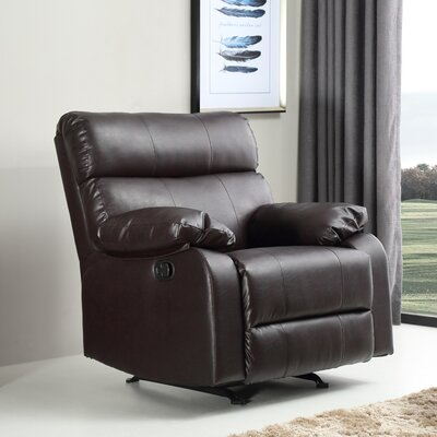 Mcneely Manual Rocker Recliner Leather Color: Brown