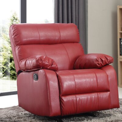 Mcneely Manual Rocker Recliner Leather Color: Red