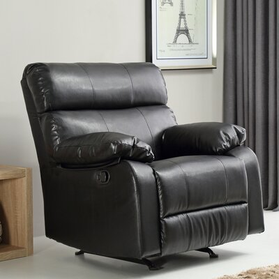Mcneely Manual Rocker Recliner Leather Color: Black
