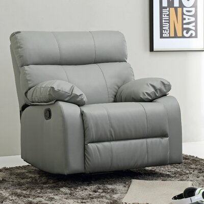Deerwood Rocker Recliner Leather Color: Gray