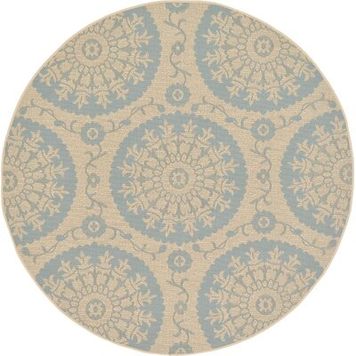 Bayou Beige/Light Blue Outdoor Area Rug Rug Size: 6 x 6