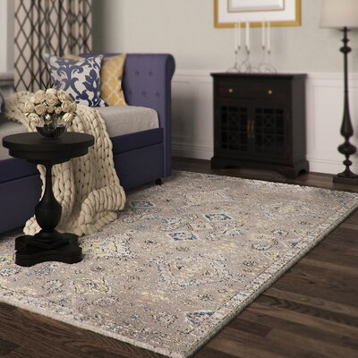 Minonk Dark Gray/Yellow Area Rug Rug Size: Rectangle 4 x 6