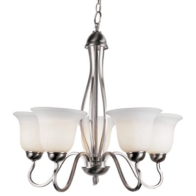 Elba 5-Light Shaded Chandelier Finish: Nickel