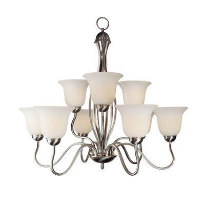 Elba 9-Light Shaded Chandelier Finish: Nickel
