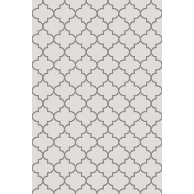 Palladio Hand-Woven White/Charcoal Area Rug Rug Size: Rectangle 5 x 76