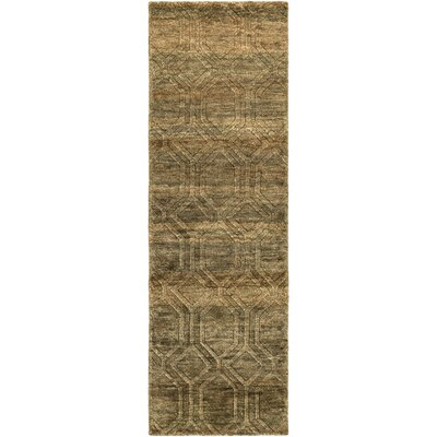 Limewood Hand-Knotted Dark Drown Area Rug Rug size: Runner 26 x 8