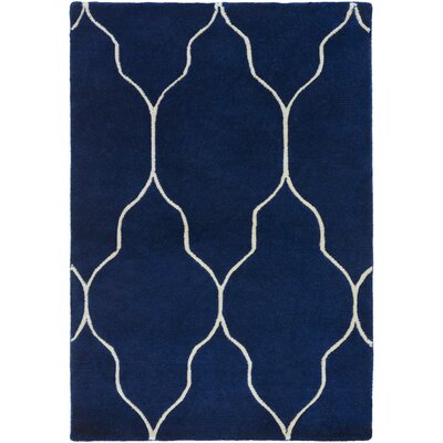 Moreton Hand-Knotted Navy/Beige Area Rug Rug size: Rectangle 9 x 13