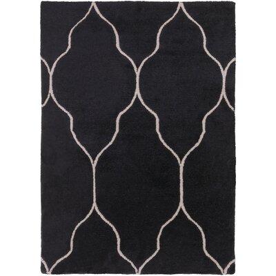 Moreton Hand-Knotted Black/Beige Area Rug Rug size: 9 x 13