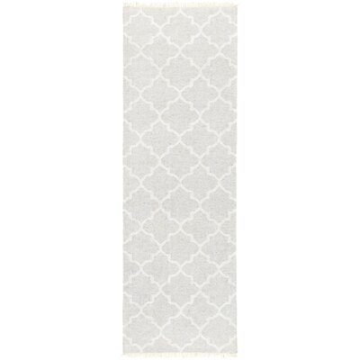 Palladio Hand-Woven Light Gray/Cream Area Rug Rug size: Runner 26 x 8