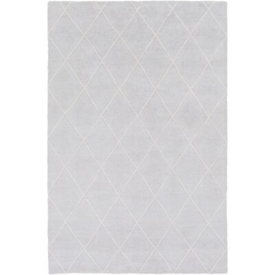 Parkstone Hand-Knotted Light Gray/Ivory Area Rug Rug size: Rectangle 4 x 6