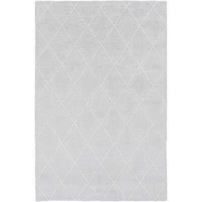 Parkstone Hand-Knotted Light Gray/Ivory Area Rug Rug size: 9 x 13